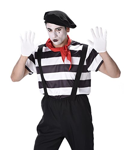 Make Kostüm Mime Up (Mime Artist Mens Fancy Dress French Circus Carnival Fun Adult Costume)