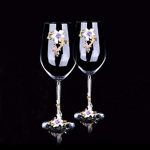 AI BEI Kristallbecher, Weingläser, klares Glas mit Emailglasbecher Rotweingläser mit Kristallschalenfuß für Rot- und Weißweine Purple Martini-gläser