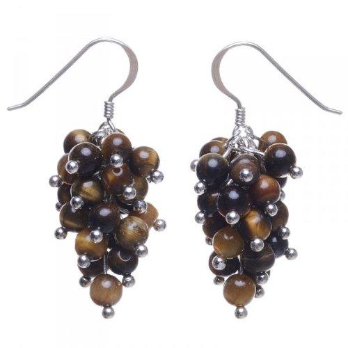 grape-earrings-tigers-eye-925silver-brown-earrings-ladies