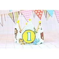 Corona cumpleaños animales de la jungla, regalo de cumpleaños niños