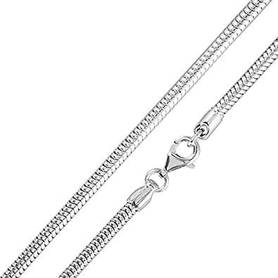 Silberkette  MATERIA 925 Sterling Silber Schlangenkette 3,2mm rhodiniert ...