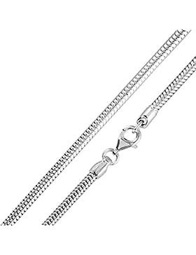 MATERIA 925 Sterling Silber Schlangenkette 3,2mm rhodiniert - Damen Halskette / Silber Kette 18,7g in 42 45 50...