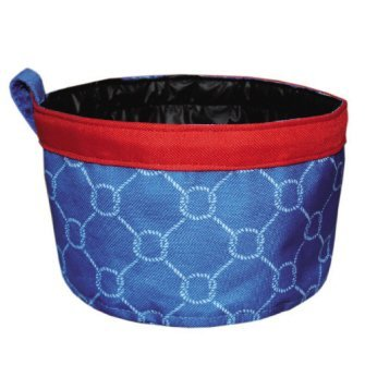 n Knots Blue Red Nautical Waterproof Pet Travel Bowl by Mainstreet ()