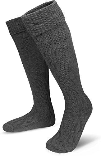 Klassische Trachtensocken Strümpfe - lange Kniestrümpfe mit Zopfmuster - Overknee Überknie [Gr. 35-50] Farbe Anthrazit Größe (Overknee Mit Socken Outfits)