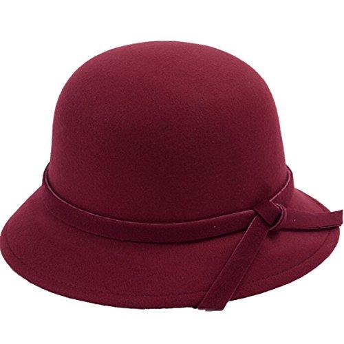 Butterme Frauen Dame Vintage Wool Round Fedora Bogen Cloche Derby Hüte Eimer Hüte (Weinrot) (Damen Fleece Cloche Hut)