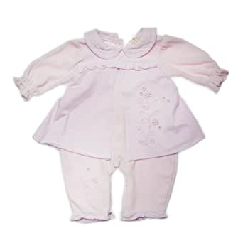 Zip Zap 2 Piece Set, Velour All In One with Jersey Over Skirt (Marshmallow, Newborn)