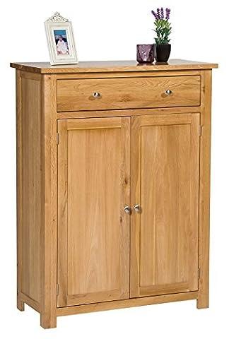 Waverly Oak Tall Shoes Storage Cabinet in Light Oak Finish | Solid Wooden Cupboard / Organiser with