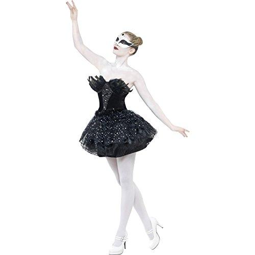 Smiffys, Damen Gothic Schwan Kostüm, Kleid, Größe: M, 27313 (Schwarzes Kleid In Halloween Kostüm)