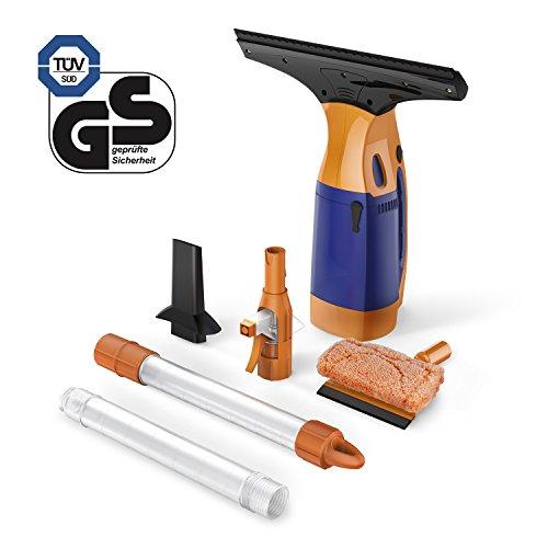 BESTEK Akku Fenstersauger mit Stiel, Einwascher, Abziehlippe und Sprühflasche Fensterreiniger in Orange