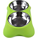 Ocamo Stainless Steel Double Pet Bowls Anti-Slip Food Water Feeder Feeding Dishes For Dog Puppy Cats Pets Supplies Green Small