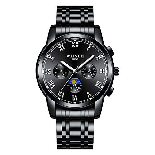 LCLrute Luxusuhren Quarzuhr Edelstahl Zifferblatt Casual Bracele Watch Herrenuhr (E)