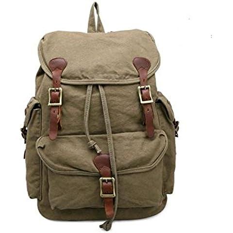 vootul Unisex Vintage Zaino causale zaino coulisse zaino Canvas Satchel escursionismo Bag, army green