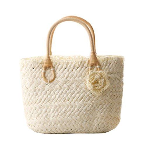 YOUJIA Stroh Taschen Blumen Casual Handtaschen Damen Tragetaschen Für Sommer / Strand #1 White