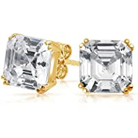 Bling Jewelry CZ Oro Vermeil Asscher Cut Orecchini argento 925 10 millimetri