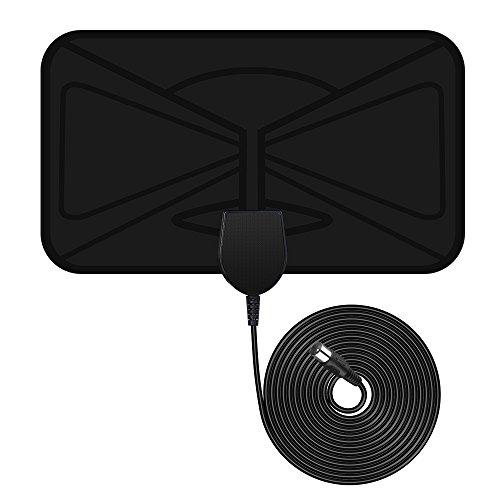 Antena Interior de TV, Antena TDT HDTV Portatil Amplificador VicTsing, Obtenga muchos canales de TV gratis, Mayor Rango de Recepción de 40KM, Fácil de usar y instalar, 3M de Cables de Alto Rendimiento, Materiales de Alta Calidad- Negro