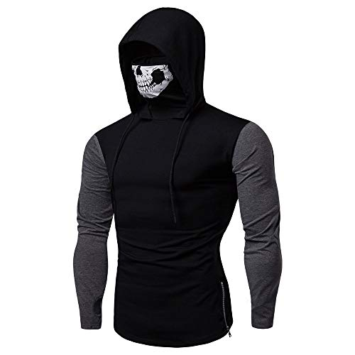 SANFASHION Herren Hooded Mens Mask Skull Sweatshirt Pure Color Pullover Langarm Kapuzenpulli Tops
