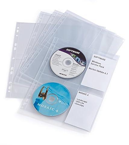 Durable CD/DVD Cover Pocket for 4 Disks - Transparent, Pack