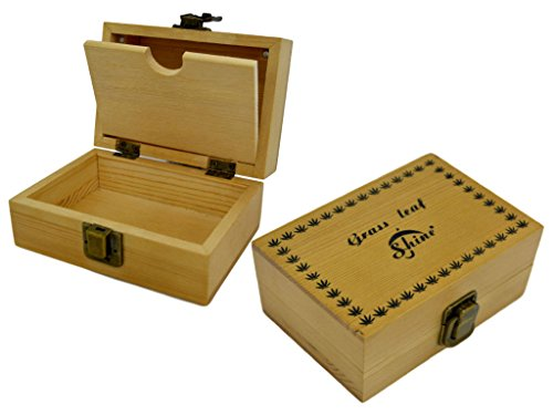 SHINE GRASSLEAF Wooden Rolling Box with RAW Tray Gift Set- Includes Papers/Tips/Rolling Machine/MAT (Small Box/Small Tray)