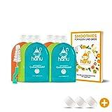 Hanu Baby Quetschies wiederverwendbar | 6 schöne Quetschbeutel 150ml für gesunden Baby-Brei, Smoothies, Fruchtmus | BPA-freie Quetschies zum Befüllen + REZEPTBUCH