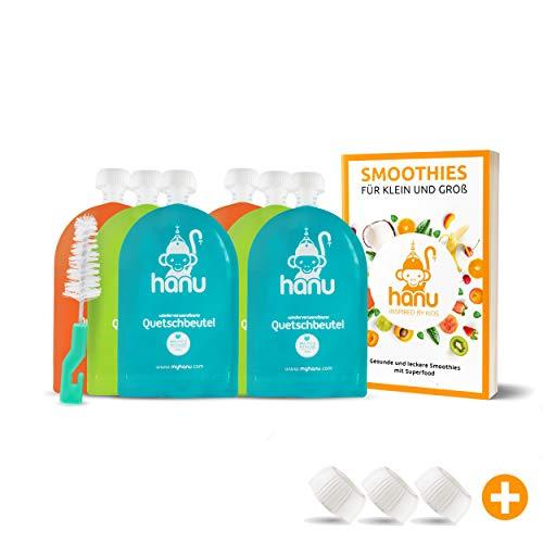 Hanu Baby Quetschies wiederverwendbar   6 schöne Quetschbeutel 150ml für gesunden Baby-Brei, Smoothies, Fruchtmus   BPA-freie Quetschies zum Befüllen + REZEPTBUCH