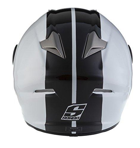 SOXON ST-666 Deluxe White Black · Helmet Urbano Casco Integrale Sport Scooter Moto Cruiser Urban · ECE certificato · compresi parasole · compresi Sacchetto portacasco · Bianco/Nero · S (55-56cm)