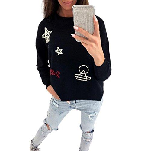 Amlaiworld Sweatshirts Damen locker Sterne und Mond Stickerei Pulli Herbst warm Sweatshirts Gemütlich Casual Sport Tops Frühling L?ssig Oberteile M?dchen Pullover (S, Schwarz) -
