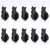 Ganci Asciugamano Acciaio Inossidabile Forma Di Gatto Impermeabile E Antiruggine Ganci Autoadesivi per Il Bagno Bagno Cucina (10 Confezioni),Black