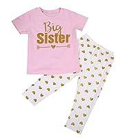 BOBORA Little Sister Big Sister Matching Clothes Set Romper Pants Set and Shirt Pants Set - Short Sleeved Big Sister - 6-7Years