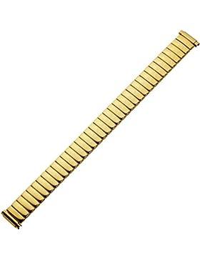 Uhrenarmband 12mm Metall gold glänzend - Teleskop-Anstoß 16mm - 22mm - Marburger Ascoflex Uhrband - glanzpoliertes...