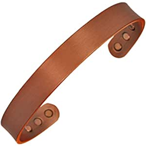 MPS® Plain Flat Profile Copper Magnetic Bangle / Bracelet with Six magnets - Will fit a wrist up to 18 cm