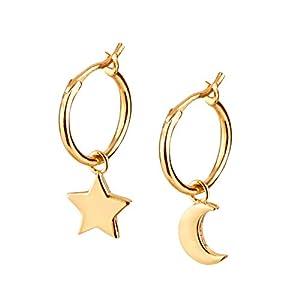 Brandlinger ® Atelier Ohrringe mit Mond und Stern Anhänger aus vergoldetem 925 Sterling Silber für Frauen und Mädchen. Durchmesser der Creole 12 mm