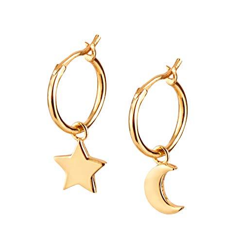 Ohrringe Gold mit Anhänger Mond und Stern. Creolen aus 925 Sterling Silber und 14K Gold Plattierung. Handgearbeitete Ohrringe Gold Mädchen, designed in Deutschland.