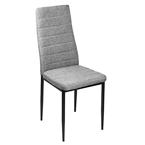 ESTEXO Hochlehner Esszimmer Stuhl Modell Arik Hellgrau 4er Set