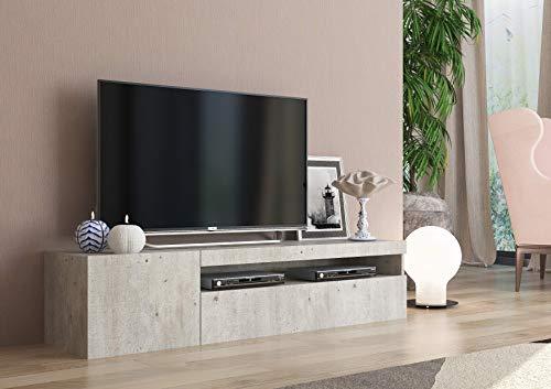 Tecnos Porta TV 150 cm Cemento, Pannello truciolare Rivestito in melamminico