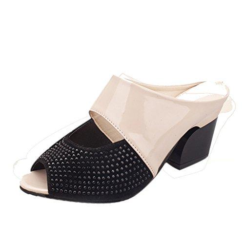 Longra Donna Colore Tutto-fiammifero comodo con i sandali spessi Beige