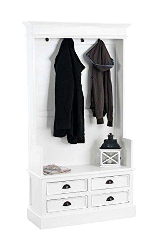 CLP Garderobenschrank JUST aus Mahagoniholz   Garderobe im Landhausstil mit 4 Schubladen und 4 Garderobenhaken weiß-matt