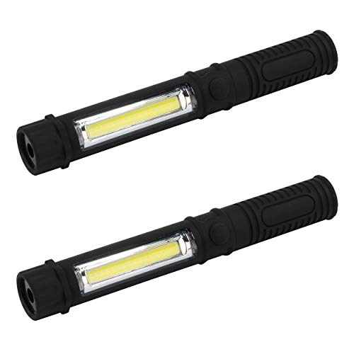 2 HyCell LED Werkstattlampe mit Magnet & Halteclip - Profi Arbeitslampe 120 Lumen - Vielseitige Taschenlampe als Inspektionsleuchte für Auto & Werkstatt Zubehör - Arbeitsleuchte inkl AAA Batterien