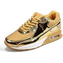 Hombres Adultos Zapatillas de Deporte de Oro con Cordones de los Zapatos Corrientes Ocasionales Amantes de