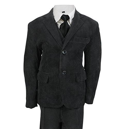 Kids Vintage Cord 3Stück Anzug in Creme Schwarz Beige, Page Boy, Hochzeit, Party alter 2-12Jahre, (Tuxedo 4 Stück Kostüm)