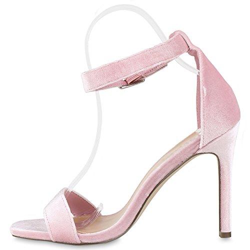 Damen Sandaletten Strass High Heels Party Schuhe Metallic Glitze Brautschuhe Abschlussball Hochzeit Rosa Velours Schnalle