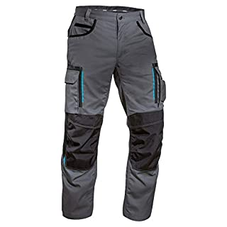 Uvex tune-up 8909 Arbeitshose Bundhose mit abriebfesten Cordura, Kniepolster-Taschen, viele Seitentaschen, Slim Fit, grau schwarz, Grau-schwarz, 56