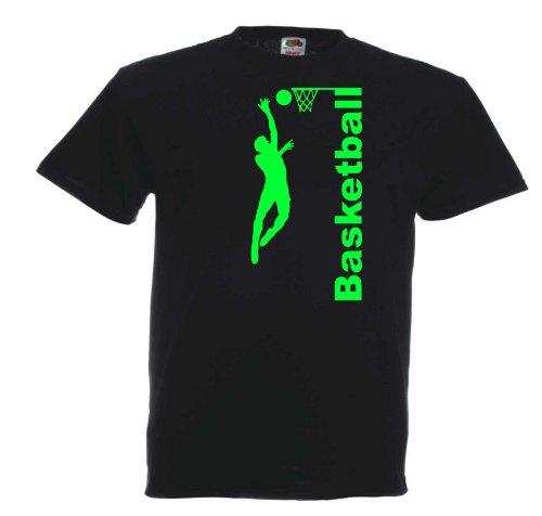 Basketball T272 Unisex T-Shirt Textilfarbe: schwarz, Druckfarbe: neongrün