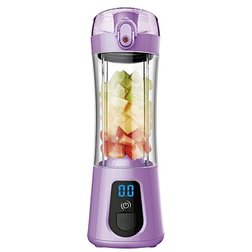 XuBa Mini tragbare elektrische Saft Flasche Mixer Cup mit Power Bank wiederaufladbare USB Fruit Entsafter mit Deckel LCD Display für Wasser, Protein Shakes, Smoothies - Mixer-cup Power