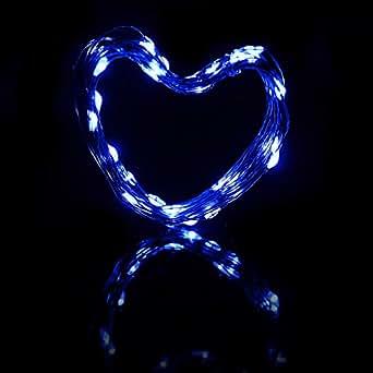Xcellent Global Striscia da 4m con 40 Luci LED Alimentate a Batteria con Filo Ultra Sottile per Decorazioni Luminose Albero di Natale Blu M-LD065L