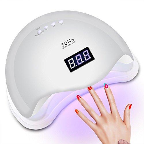Lámpara Secador de Uñas, Rixow 48W LED/UV Lámpara Temporizador Profesional de Gel para Manicura y Pedicura con Sensor, Gran Espacio Interior Panel Extraíble 3 Modos, Blanco.