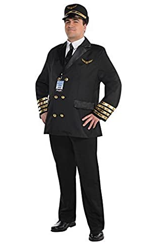 Adults Christys Dress Up Pilot Captain Wingman Airline Mens Uniform Fancy Costume - Plus Size