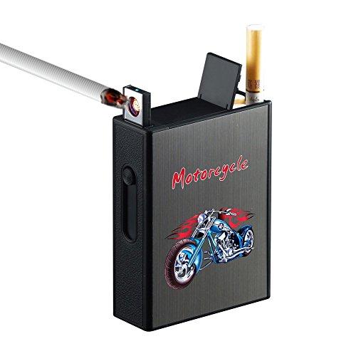 Pantheraa Caja para Cigarrillos con mechero de Metal, Paquete Completo, 20 Cigarrillos Regulares, con Soporte USB, Encendedor Eléctrico Recargable, sin Llama, Resistente al Viento, Portátil, sin Gas
