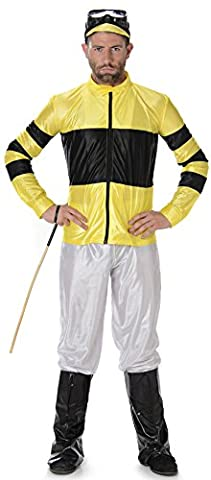 Jockey Mens Fancy Dress Polo Horse Racing Riding Sports Adult Costume Outfit New (Large 42 -44