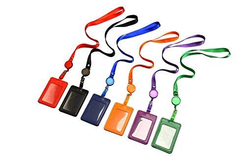 Vertikale Doppelseitige Künstliche Leder Kreditkarte Abzeichen Halter Kartenhalter Ausweishaltermit ausziehbarem Lanyard Halsband, 6 Stück (Doppelseitiges Leder)