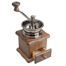ReaLegend Manual Coffee Grinder Vintage Style Wooden Hand Coffee Mill Burr Coffee Grinder with Ceramic Hand Crank